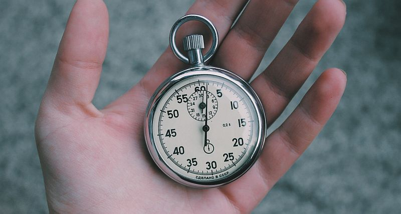 hand holding a russian stopwatch